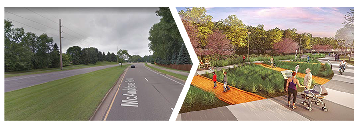 Rendering of possible roadside landscaping