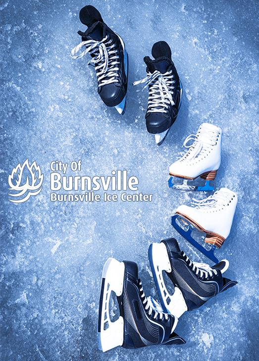 Two pairs of hockey skates and one pair of figure skates lay on ice next to the logo for the Burnsvi
