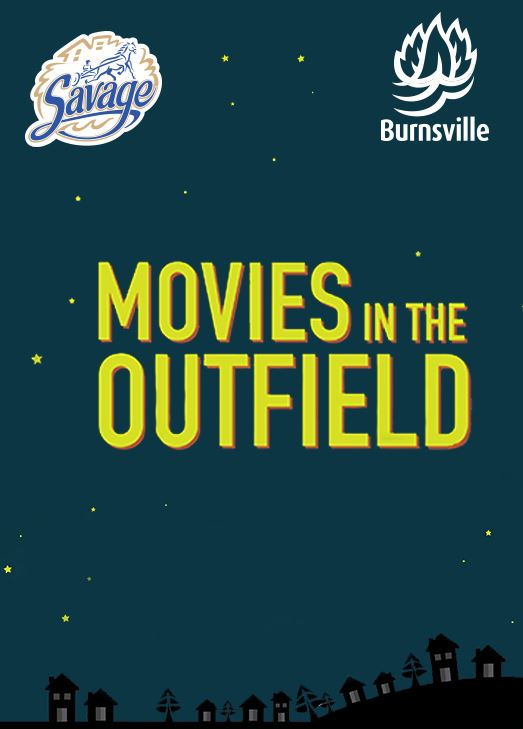 Illustration of houses underneath a night sky with the title &#34Movies in the Outfield&#34 and the