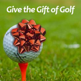 Golf ball on a tee with a red gift bow. Text says &#34Give the gift of golf&#34