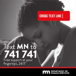 Young African-American woman looks down with her head on her knee. Text: Text MN to 741741. Free sup