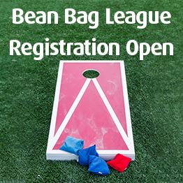 A bean bag board and bags lay on grass. Text: Bean Bag League Registration Open. New Program!