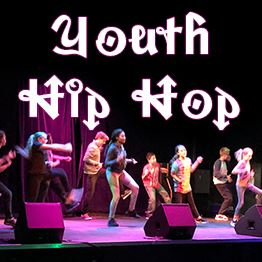 Young teens perform a hip hop dance on stage. Text: Youth Hip Hop