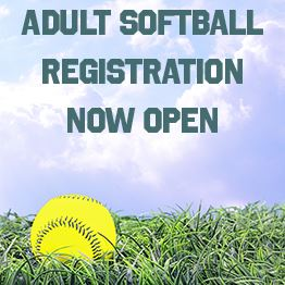 Yellow softball laying in grass beneath sunny skies. Text: Adult softball registration now open