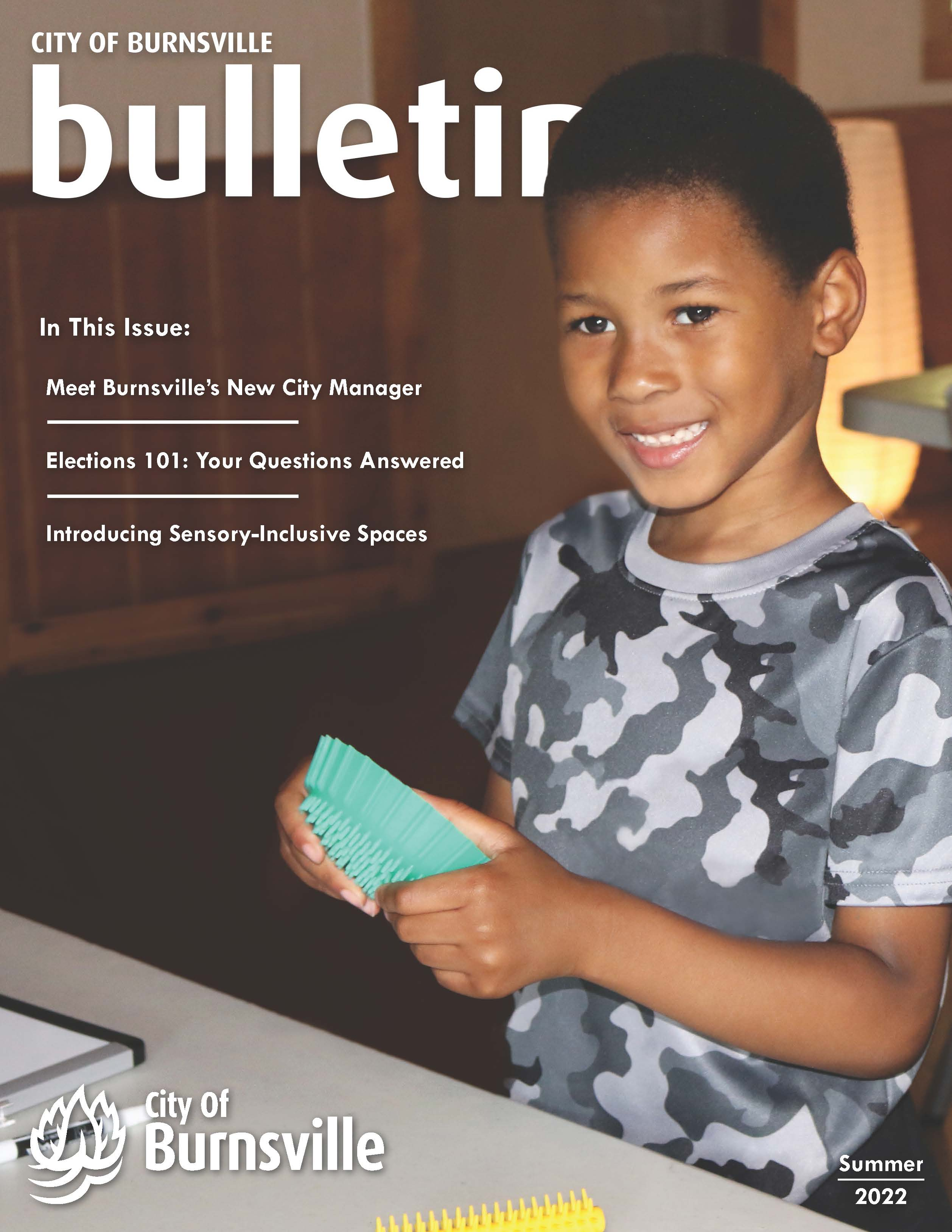 Cover of Spring 2020 Burnsville Bulletin featuring a laptop showing a virtual City Council meeting