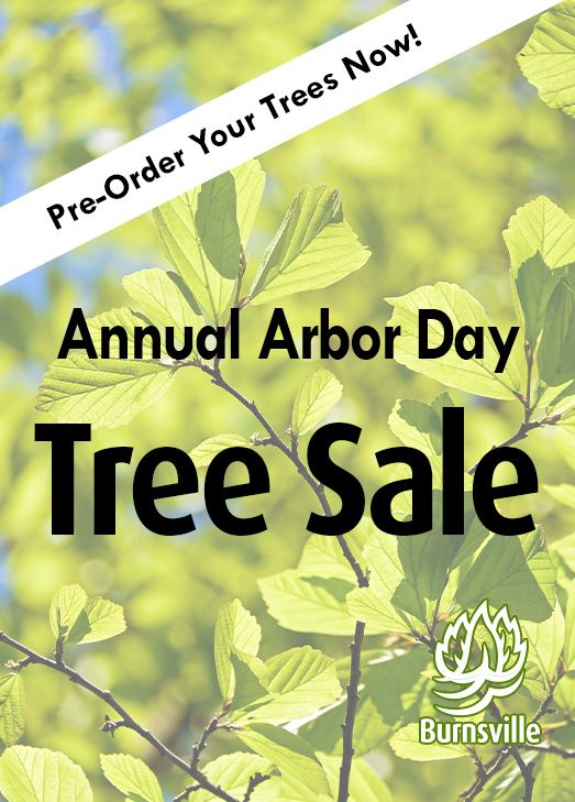 "Close up of green leaves against a sunny blue sky. Text: ""Annual Arbor Day Tree Sale. Pre-Order Y"