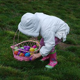 Small child leans over to pick up Easter eggs. A basket filled with eggs is next to her.