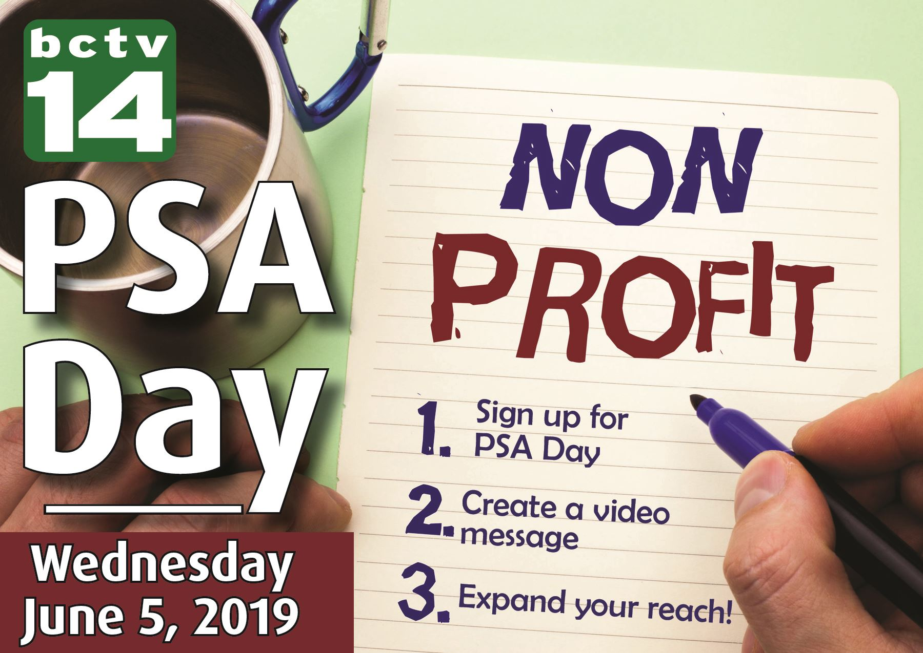 June 2019 Non-profit PSA Day, Wednesday, June 5 hosted by Burnsville Community Television