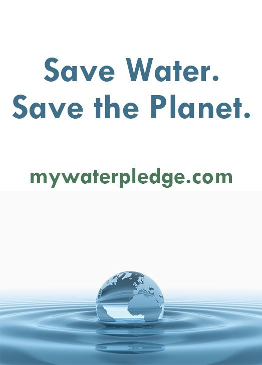 A transparent globe of Earth floats in a water ripple. Text: Save Water. Save the Planet. mywaterple