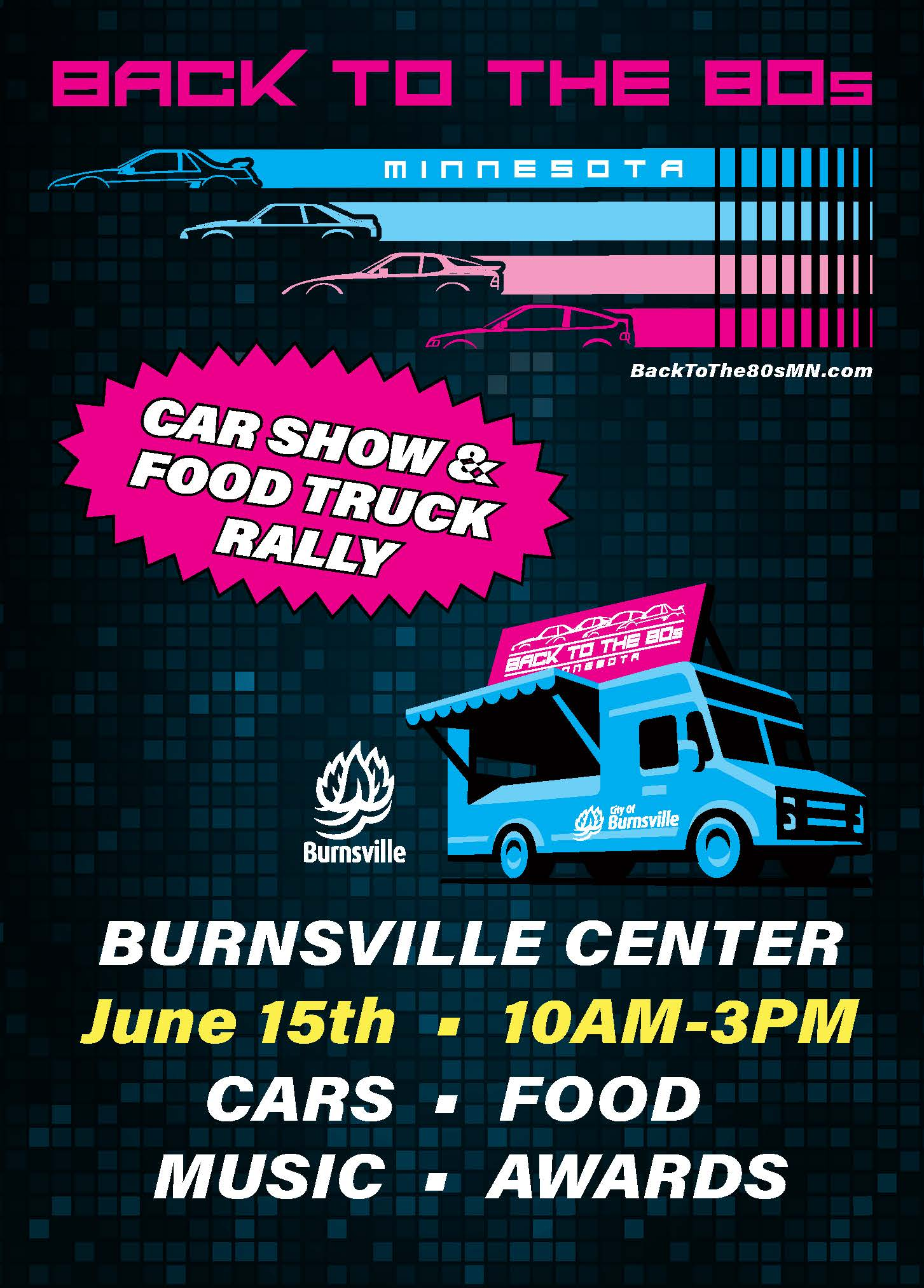 Illustration of 80&#39s style cars and a food truck. Text: Back to the 80s car show & food truck ral