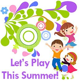 Illustration of three young children jumping and smiling. Text: Let&#39s Play This Summer!