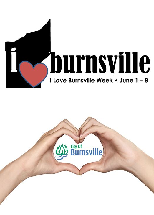 Two hands form the shape of a heart. The I Love Burnsville Week logo is above the hands, and the Cit