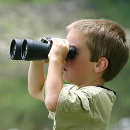 Young child holds a pair of binoculars up to his eyes