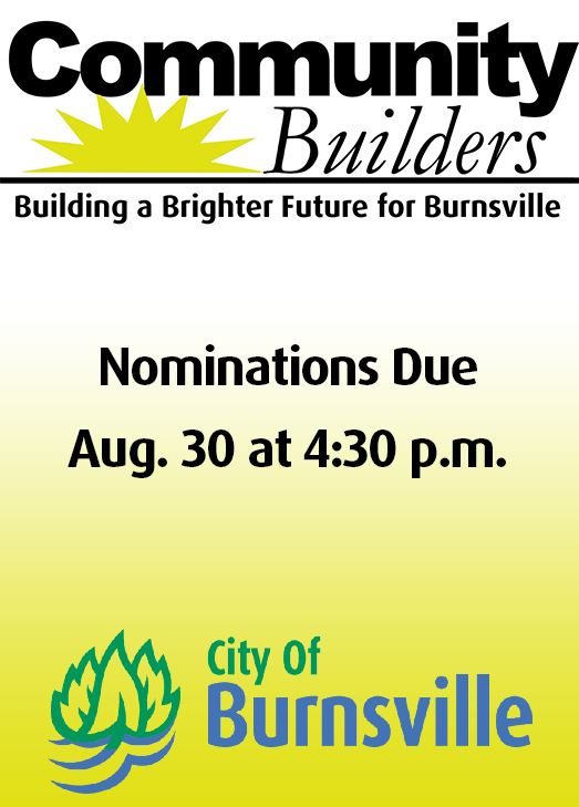Community Builder award logo and City logo. Text: Nominations due Aug. 30 at 4:30 p.m.