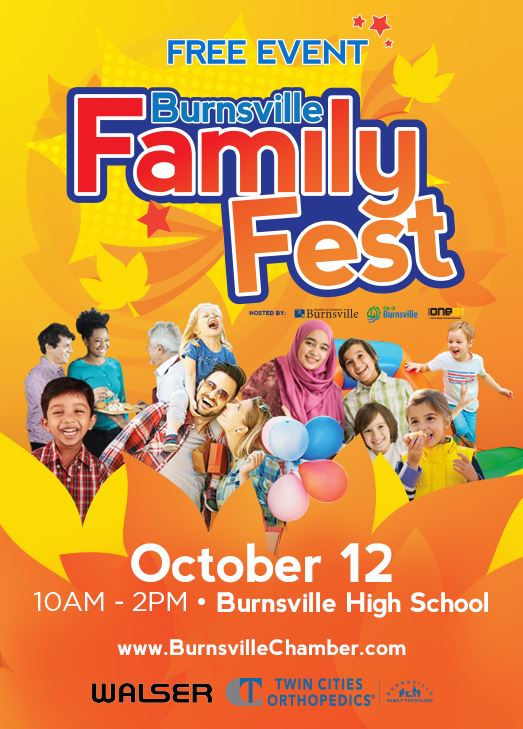 Burnsville Family Fest Promotional Flyer. Text: Free event. Oct. 12 10 a.m. - 2 p.m. Burnsville High