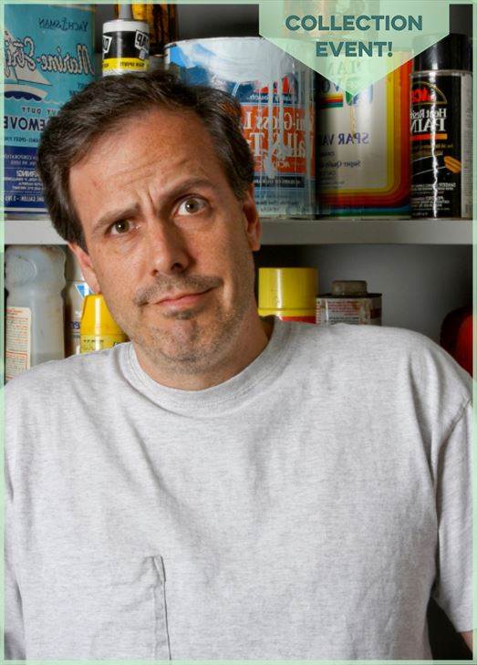 Man with confused look on his face stands in front of paint cans. Text: Collection event