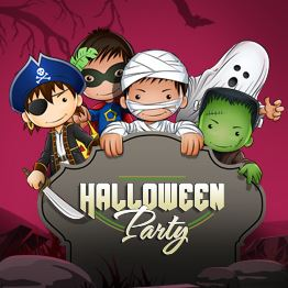 Illustration of kids dressed in Halloween costumes standing behind a tombstone. Text: Halloween Part