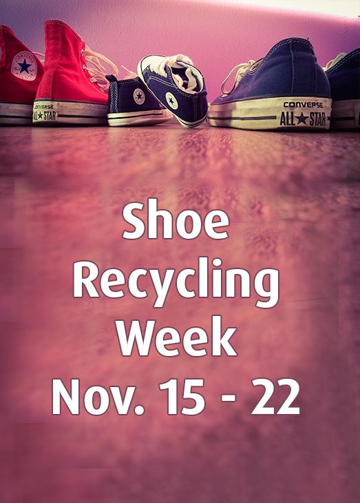 Three pairs of shoes. Text: Shoe Recycling Week