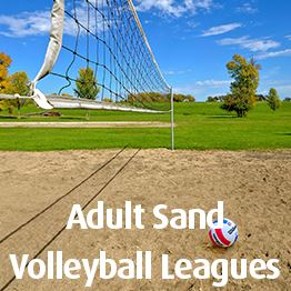 Volleyball laying on sand court. Text: Adult Sand Volleyball Leagues
