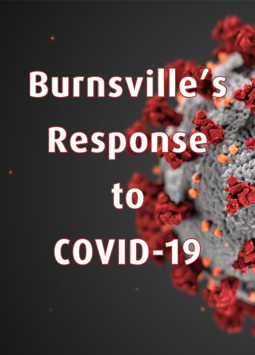 Microscopic image of Coronavirus. Text: Burnsville's response to COVID-19