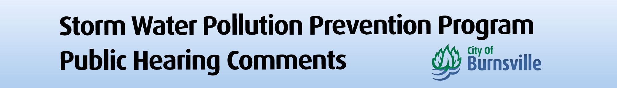 Storm Water Pollution Prevention Program public hearing comment header