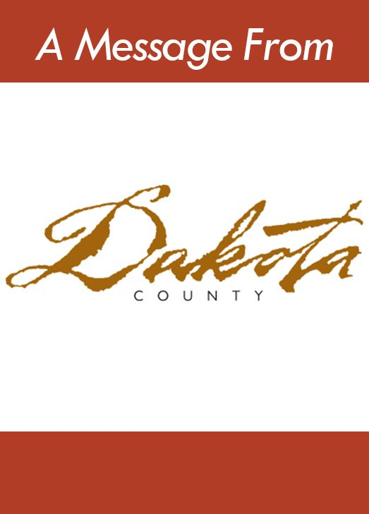 Red bars and Dakota County's logo. Text: A message from Dakota County