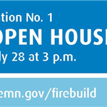Burnsville logo followed by fire station number one virtual open house, Tuesday, July 28 at 3 p.m.
