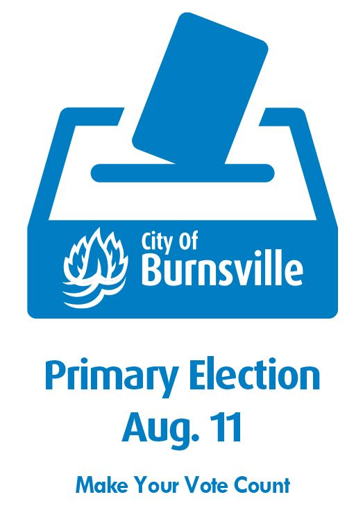 Blue Icon of Ballot Box with Text Primary Election Aug. 11, make your vote count