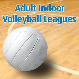 volleyball on floor of indoor court with text Adult Indoor Volleyball Leagues
