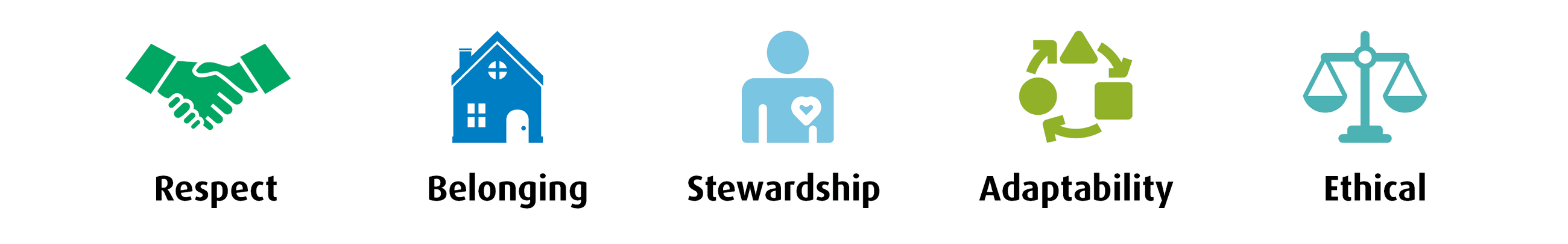 Value icons for respect, belonging, stewardship, adaptability, ethical