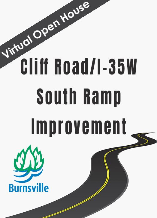 Drawing of curvy road with text: Virtual Open House Cliff Road/I-35W southbound ramp realignment