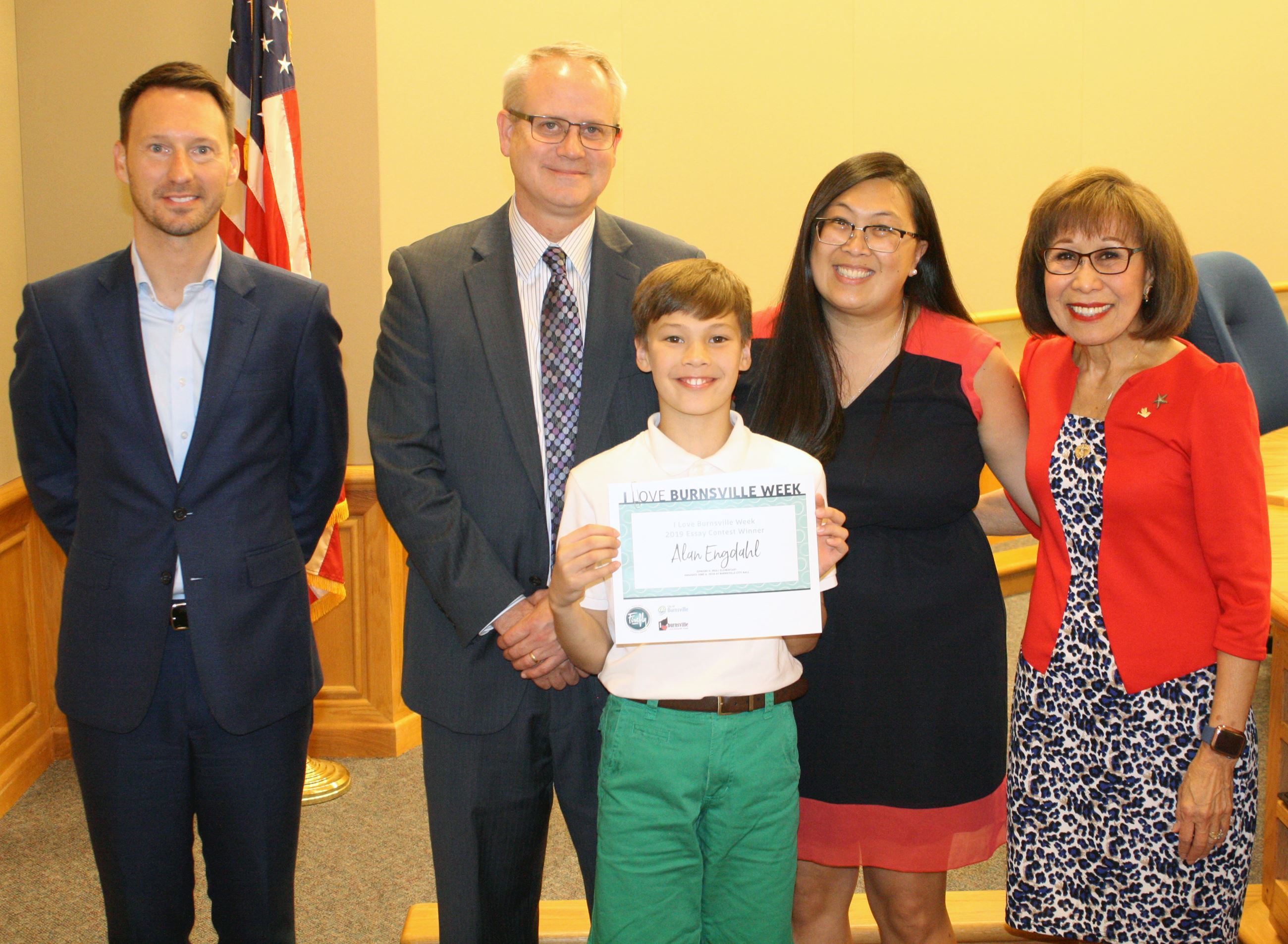 Essay Contest Winner Alan, With Mayor and Firefly Credit Union
