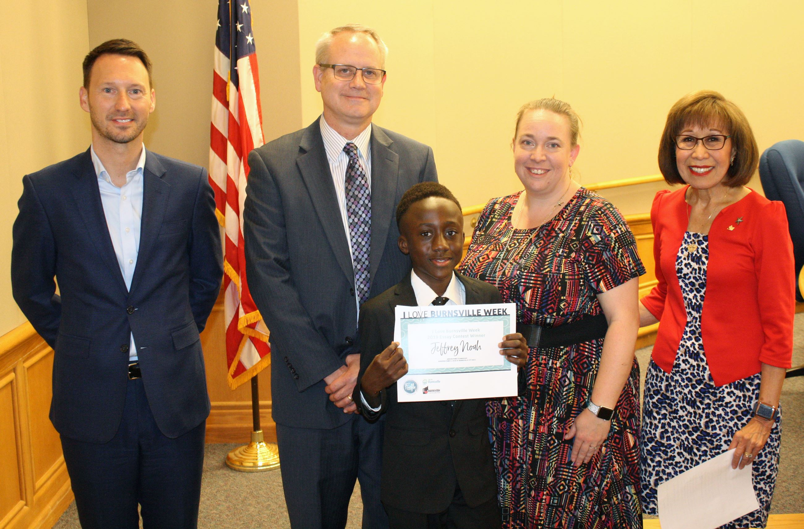 Essay Contest Winner Jeffrey, With Mayor and Firefly Credit Union