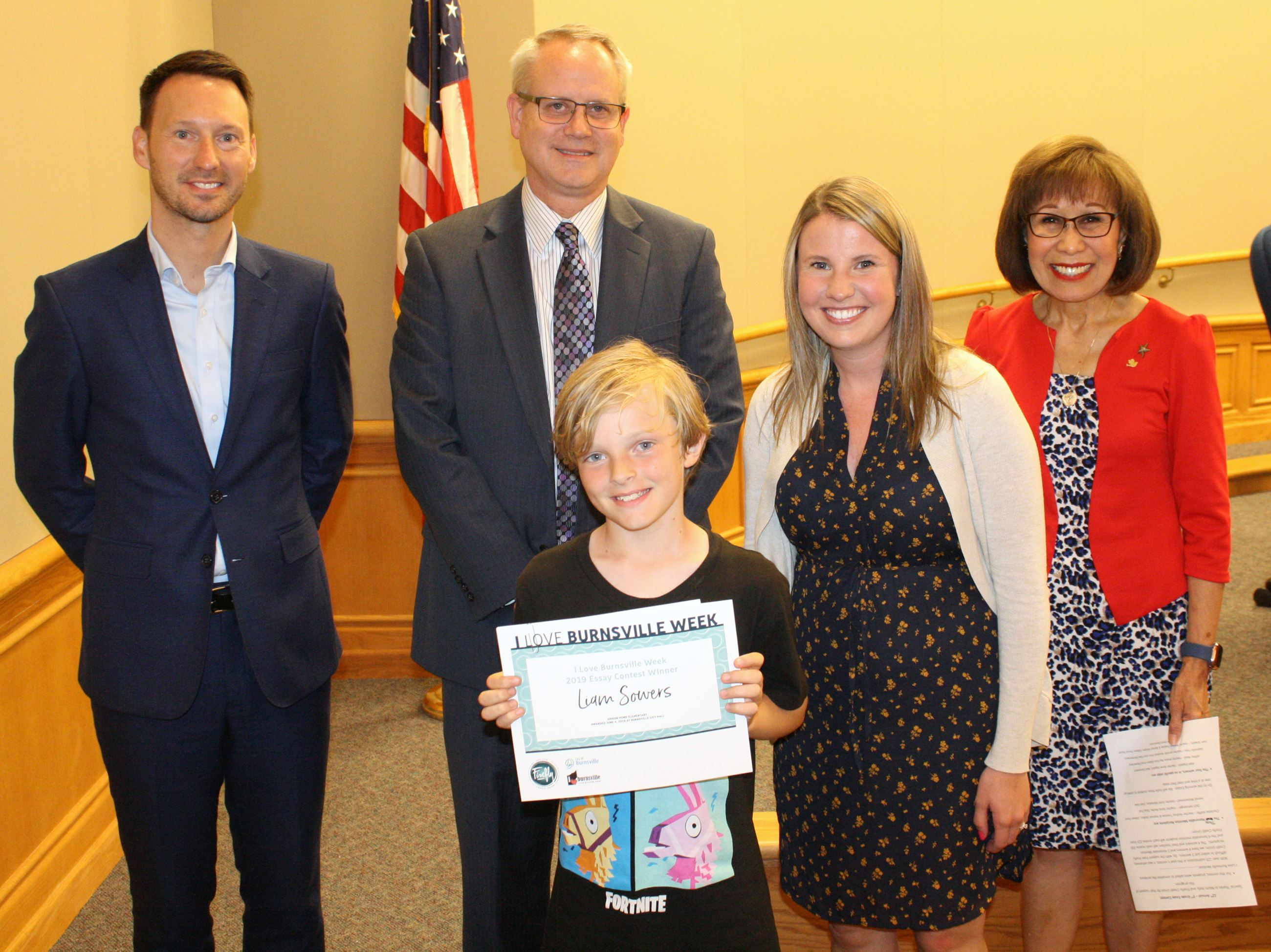 Essay Contest Winner Liam, With Mayor and Firefly Credit Union