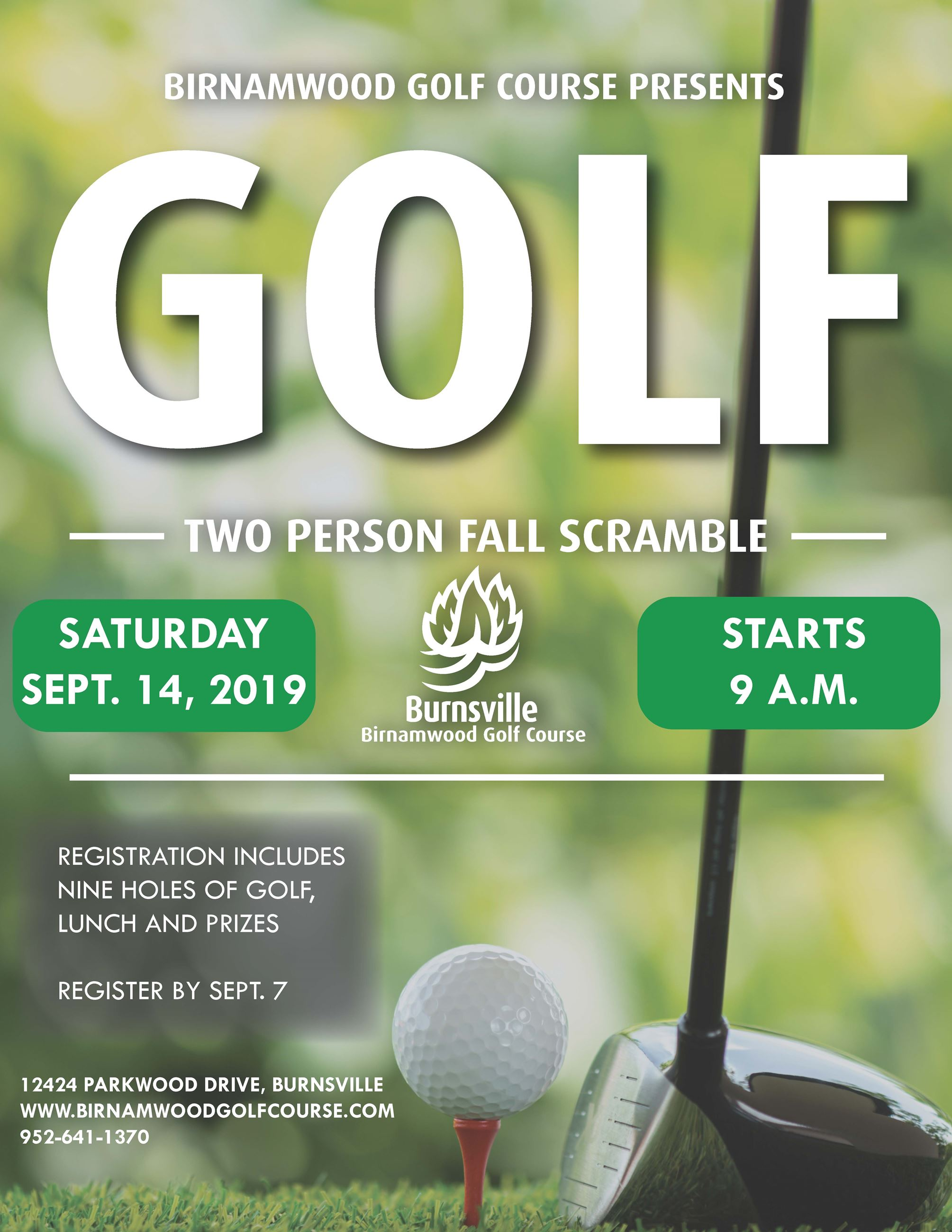 Flyer for Two Person Fall Scramble Tournament at Birnamwood Golf Course. Opens in new window