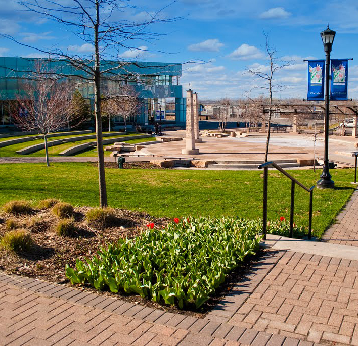Nicollet Commons Park in the spring