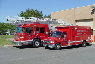Fire Department Ladder and Medical Vehicles