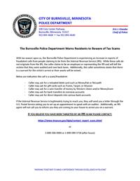Police Department's notice about tax scams. Text from the notice is in the text of the web page.