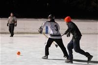 Men playing broomball