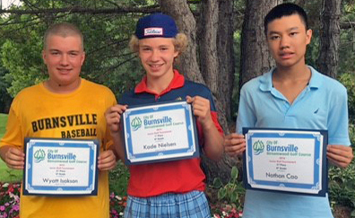 8th grade winners, Wyatt Isakson, Kade Nielsen and Nathan Cao
