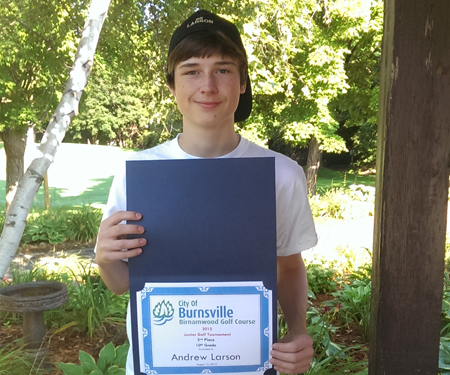 Birnamwood's 2015 Junior Golf Tournament, 10th grade, second place winner, Andrew Larson