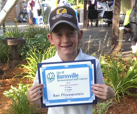 Birnamwood's 2015 junior golf tournament, 5th grade, second place winner, Ben Pfannenstein