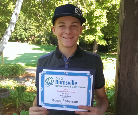 Birnamwood's 2015 Junior Golf Tournament, 9th grade, second place winner, Isaac Peterson