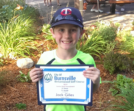 Birnamwood's 2015 junior golf tournament, 3rd grade, third place winner, Jack Giles