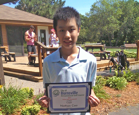 Birnamwood's 2015 junior golf tournament, 7th grade, first place winner, Nathan Cao